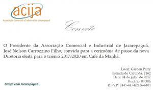 Convite Posse Nova Diretoria ACIJA.
