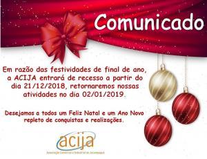 Comunicado - Recesso ACIJA 2018.