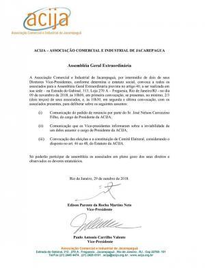 Edital de Convocação Assembléia Geral Extraordinária ACIJA - 09 de novembro de 2018 às 10:00h.