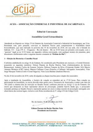 Edital de Convocação Assembléia Geral Extraordinária e Inscrição de Chapas para Eleição da Diretoria e Conselho Fiscal ACIJA.